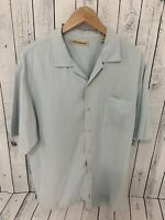TOMMY BAHAMA Silk Short Sleeve Button Front Shirt Blue Size Large S3