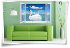 3D Fenster Wandbild Wandtattoo Aufkleber Sticker Schwan Wohnzimmer Deko