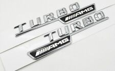 MERCEDES BENZ TURBO AMG CHROME BLACK 3D SIDE DECAL BADGES EMBLEMS A45 C63 E63