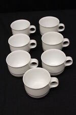 Set of 7 Hutschenreuther TAVOLA VENEZIA Mid-Century Flat Cup Teacups Blue Stripe
