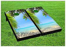 Vinyl Peaceful White Sand Beach Paradise Cornhole Beanbag Boards 1020