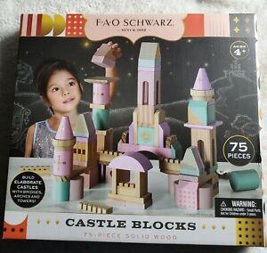 FAO Schwartz ☆ 75 PIECE WOOD CASTLE BLOCKS ☆Build Your Fortress☆ MULTICOLOR PINK