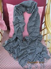 NWT~BHS~LONG SOFT FRILLY/RUCHED  SCARF BLACK/WHITE