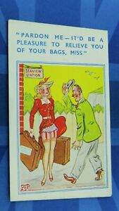 Saucy Comic Postcard 1940's Nylons Stockings Garter Knickers Railway Station
