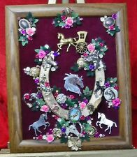 """Vintage Jewelry Art Horse Shoe """" Lucky Horses"""", Framed, & Signed"""
