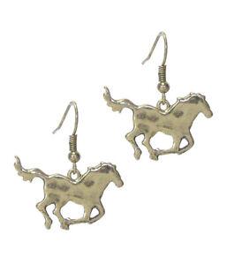 HORSE Western Theme Burnish Brass Color Horse Dangle Pierced Wire Earrings