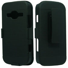 For ZTE Concord II 2 Z730 Black COMBO Belt Clip Holster Hard Case Cover Stand