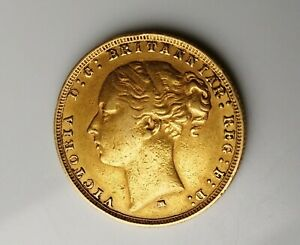 1879 Gold Sovereign  Victoria Young Head  Melbourne Mint