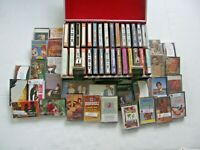 MIXED LOT OF 61 VINTAGE CASSETTE TAPES ROCK-POP-COUNTRY-ETC + 1 CARRYING CASE