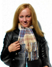 Luxe Oh` Dor 100% Cashmere Scarf Atherton Check Checked Beige Blue 63x9 13/16in
