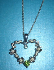 Solvar Sterling Silver Shamrock Heart Necklace Pendant  with Peridot