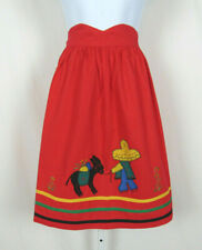 VTG 1950s 60s MEXICAN APRON RED BURRO CACTUS SOMBRERO COTTON POLY BLEND?
