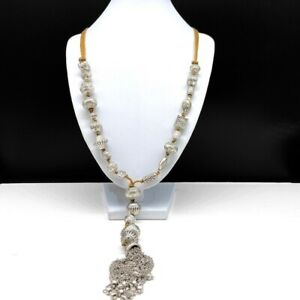 Chico's Silver Beaded Lariat Long Necklace Tan Cord Boho Y-Chain