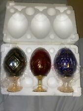 3 Russian Glass Eggs Blue, Red, Green