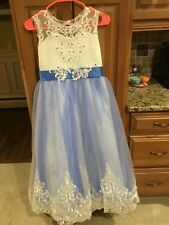 Custom Made Pageant Flower Girl Dress Blue White Sparkles Rhinestone Size 12/14
