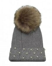 New Women/'s Fabric Crystal With Pearl Faux Fur Knitted Hat Removable Pom Pom Uk