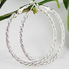 Sparkle Hoop Earrings, 925 Sterling Silver Plate, 50mm, Sleeper Twist Rope Gift