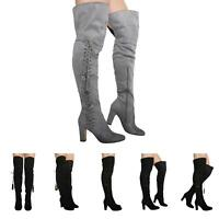 NEW WOMENS LADIES LACE UP BLOCK HIGH HEEL OVER KNEE BOOTS SHOES SIZE 3-8
