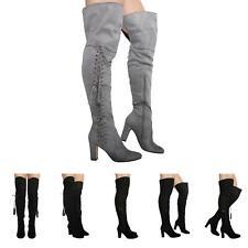 Nuevo Mujer Damas Tacón Alto Bloque Con Cordones Sobre Rodilla Botas Zapatos Talla 3-8
