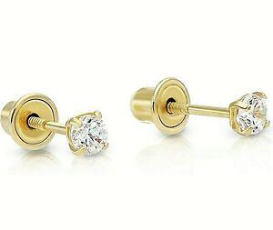 Genuine Round Diamond Stud Screw Back Earrings  set in Solid 10k Yellow gold