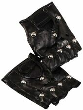Studded Punk Biker Gloves Fancy Dress 1980s Rocker Fingerless Accessory