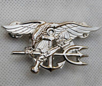 US NAVY SEAL EAGLE ANCHOR TRIDENT METAL MEDAL BADGE INSIGNIA SILVER