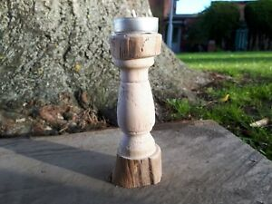 Turned Small Tea light Pillar Candle Holder Sycamore Wooden Tealight Candle
