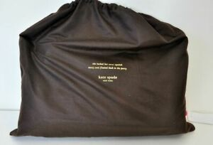 """Kate Spade Drawstring Dust Bag Brown with Gold Lettering NEW 13""""x11"""" FS"""