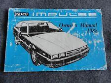 1988 Isuzu Impulse    Owners Manual