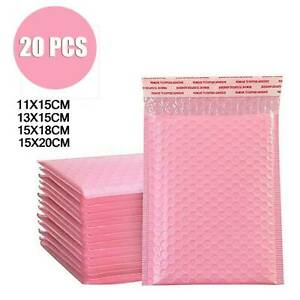 20 Pastel Pink Poly Bubble Mailer Padded Bag Shipping Self Mailing Envelope