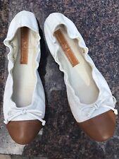 Attilio Giusti Leombruni Women's White/ Brown Ballet Flats Size 37.5