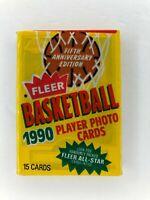 1990 Fleer Basketball Wax Pax W/ Vlade Divac RC on Top