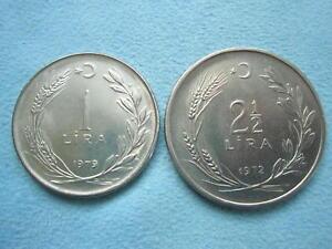 TURKEY lot 2 coins 1 lira 1979 & 2-1/2 lira 1972 both Brilliant UNC superb