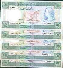 SYRIA LOT 5x 100 POUNDS 1990  P 104. UNC. 3RW 29 ABRIL