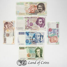 ITALY: Set of 6 Italian Lira Banknotes.