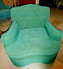 Vintage DECO CHAIR Mid Century GREEN frieze fabric upholstered MCM  Kroehler