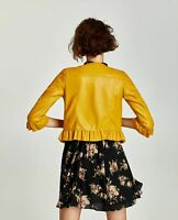 ZARA~ Bloggers SOLD OUT Mustard Frill 3/4 Sleeve Faux Leather Biker Jacket  L