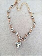 Elegant Rhinestone Crystal Heart  Chain Bracelet gold colour