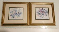 2 Framed Flower Prints by Celia Russell Cottage Garden Bouquet Summer Blaze