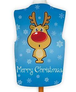 Merry Xmas Blue Rudolph Reindeer Fancy Dress Waistcoat