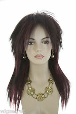 Ash Black And Burgundy Frost Brunette Long Straight Costume Fun Color Wigs