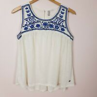 Lee Cooper Top Size 12 White Sleeveless Embroidered