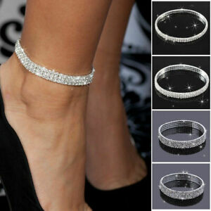 Stretchy Anklet, Silver Plated Diamante Bling Rhinestone Ankle Chain Bracelet