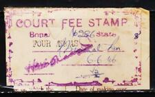 INDIAN PRINCELY STATE BONAI 4AN CF REVENUE RARE OLD FISCAL STAMPS #C9