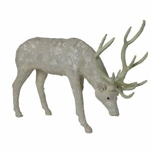 Fabric Standing Stag Accent Decor with Embroidered Pattern, Gray