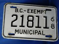 BRITISH COLUMBIA LICENSE PLATE MUNICIPAL TAX EXEMPT 1968  BC CANADA  VINTAGE