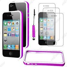 Housse Coque Etui Bumper Violet / Blanc Apple iPhone 4S 4+Mini Stylet+3 Films