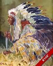 THE SOUIX CHIEF NATIVE AMERICAN INDIAN OIL PAINTING ART REAL CANVAS GICLEEPRINT
