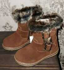 NEXT infant girls size 11 uk NEW brown real leather boots faux fur lined warm