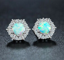 Engagement Jewelry Platinum Plated White Fire Opal White Zircon Stud Earrings